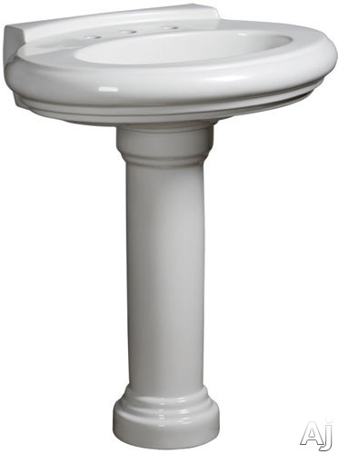 Picture of Danze Orrington Collection DC016028 30 Inch Single Bowl Vitreous China Pedestal Lavatory Sink with Overflow Widespread Faucet Mounting 8 Inch Centers and Backsplash Requires Pedestal Column or Vanity Sold Separately