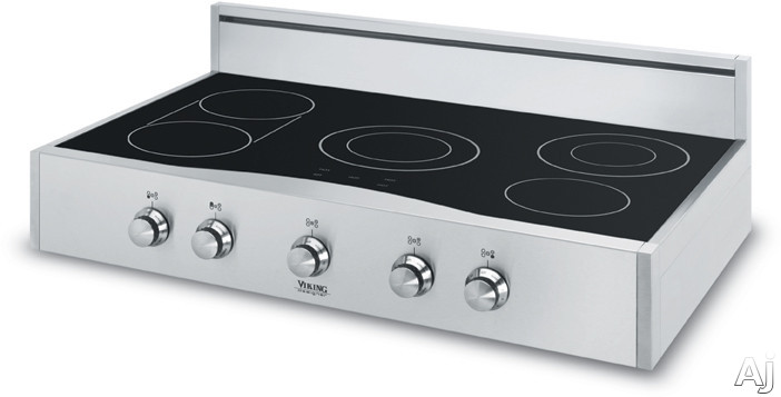 Viking dert3625bsb 36 electric rangetop with 5 quickcook for Viking 36 electric cooktop