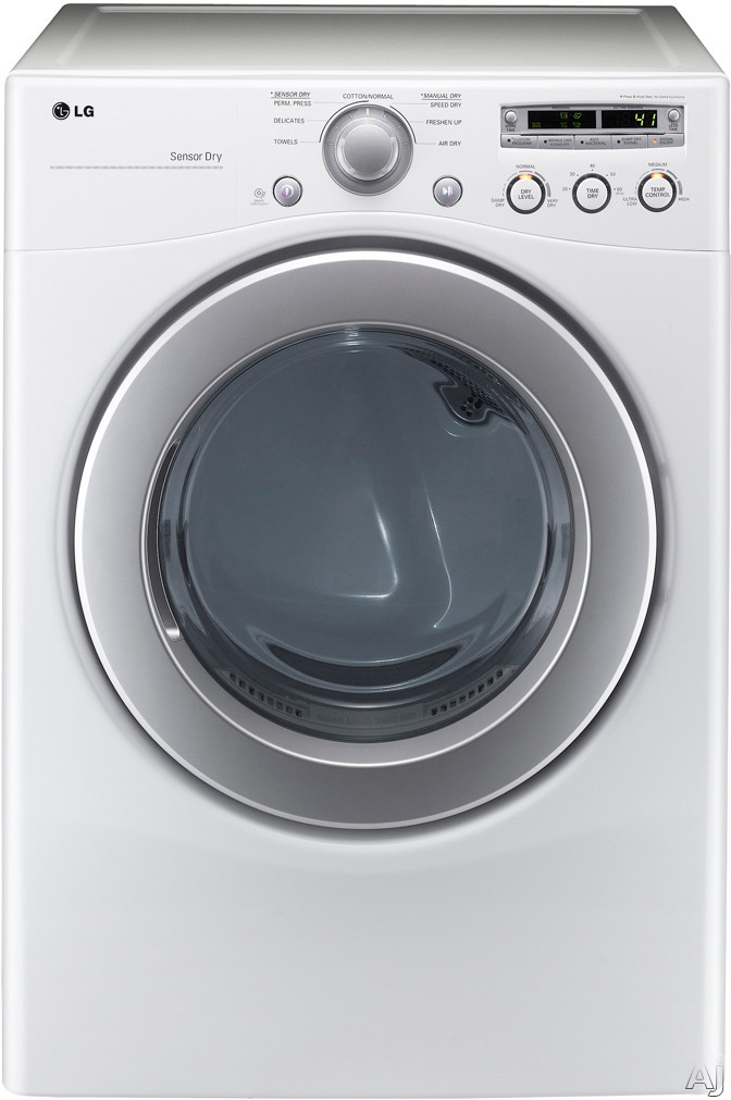 LG DLG2251W 27 Gas Dryer with 7.1 cu. ft. Capacity, 7 Dry Cycles, 8 Options, FlowSense Duct, U.S. & Canada DLG2251W