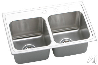 Elkay Lustertone Collection DLR2918100 29 Inch Top Mount Double Bowl Stainless Steel Sink with 18-Gauge, 10 Inch Bowl Depth, 18 Inch Length and Self-Rim: No Holes