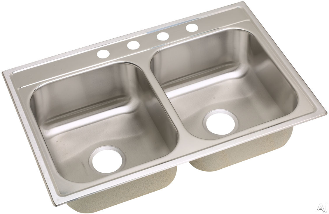 Elkay Dayton Premium Collection DPC233221 33 Inch Drop-In Stainless Steel Double Bowl Sink with 8 1/4 Inch Bowl Depth, 20-Gauge, Sound Guard Undercoating and Premium Satin Finish: 1 Faucet Hole