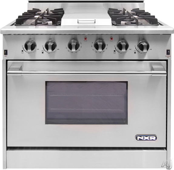 NXR DRGB3601 36 Inch Pro Style Gas Range with 4 Sealed Burners 18 500 BTU Infrared Griddle Heavy Duty Cast Iron Grates 52 cu ft Convection Oven Manual Clean 16 500 BTU Infrared Broiler and Extra Large Oven Window