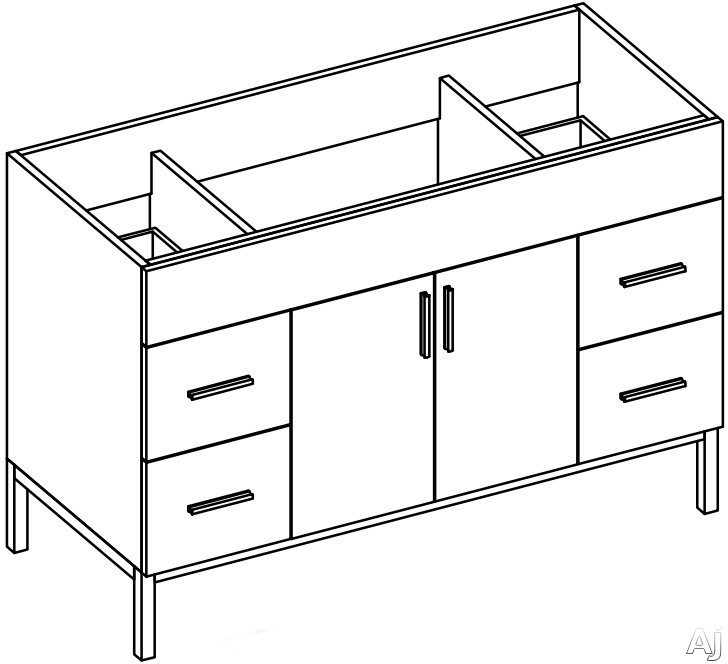 """Empire Industries Daytona Collection DS4824BWP 48"""" Contemporary Vanity with 2 Doors, 4 Drawers, BLUM, U.S. & Canada DS4824BWP"""