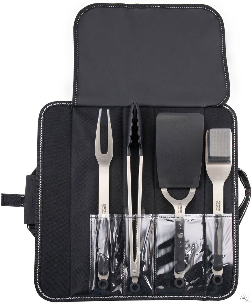Image of Kenyon A70011 4-Piece Grill Utensil Set with Spatula, Fork, Tong, Grate Cleaning Brush and Canvas Storage Bag