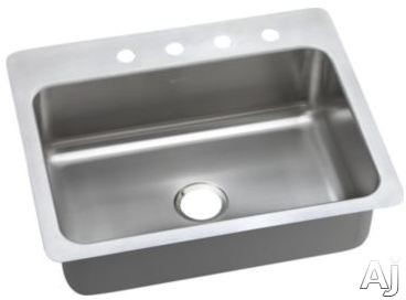 Elkay Dayton Elite Collection DSESR12722MR2 27 Inch Drop-In/Undermount Stainless Steel Kitchen Sink with 8 Inch Bowl Depth, 20-Gauge, Sound Dampening, Elite Satin Finish and Slim Rim: 2 Faucet Holes M