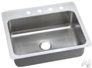 Elkay Dayton Elite Collection DSESR12722 27 Inch Drop-In/Undermount Stainless Steel Kitchen Sink with 8 Inch Bowl Depth, 20-Gauge, Sound Dampening, Elite Satin Finish and Slim Rim