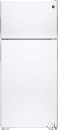 Image of GE GPE16DTHWW 28 Inch Top-Freezer Refrigerator with 15.5 cu. ft. Capacity, 2 Adjustable Wire Shelves, Gallon Door Storage, Adjustable Wire-Z Shelf, Recessed Handles, Upfront Temperature Controls, ENERGY STAR and Optional Ice Maker: White