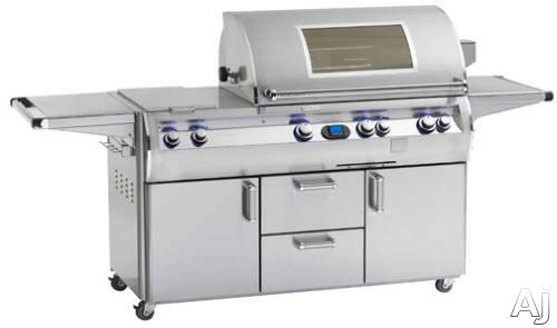 Fire Magic Echelon Collection E1060S4L1N71W 111 Inch Freestanding Gas Grill with 1056 sq. in. Cooking Surface, 115,000 Main Burner BTUs, Wood Chip Smoker, Double Side Burner, One Infrared Burner and View Window: Natural Gas