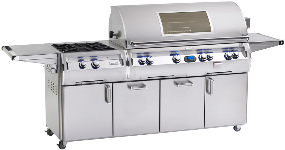 Fire Magic Echelon Collection E1060S4E1N51W 111 Inch Freestanding Gas Grill with 1056 sq. in. Cooking Surface, 112,000 Main Burner BTUs, Wood Chip Smoker, Power Burner, Back Lit Safety Knobs and Magic