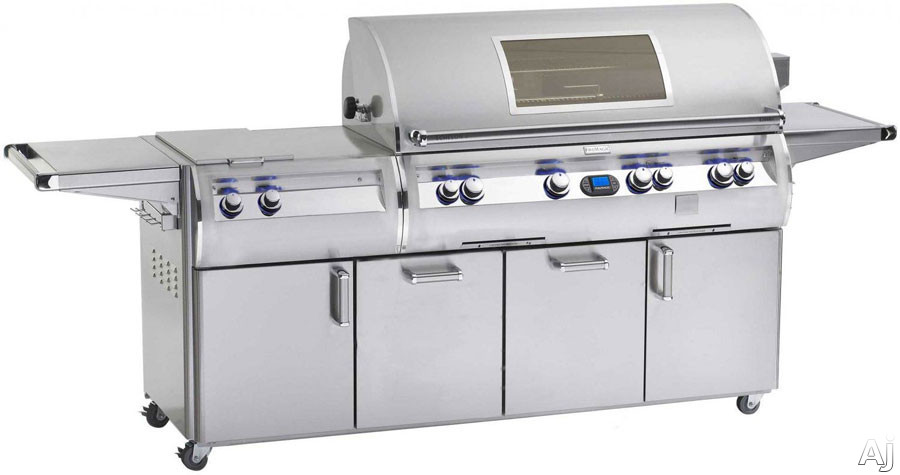 Fire Magic Echelon Collection E1060S4E1P71W 111 Inch Freestanding Gas Grill with 1056 sq. in. Cooking Surface, 115,000 Main Burner BTUs, Wood Chip Smoker, Double Sideburner, Backlit Safety Knobs and Viewing Window: Liquid Propane