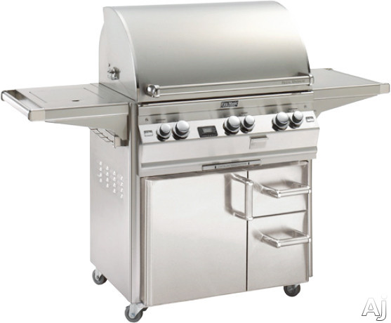 "click for Full Info on this Fire Magic Echelon Collection E660SME162 67"" Freestanding Gas Grill with 660 sq in Cooking Area  97 000 Total BTU  Woodchip/Rotisserie Backburner  Single Side Burner  Digital Thermometer and Power Hood/Remote"