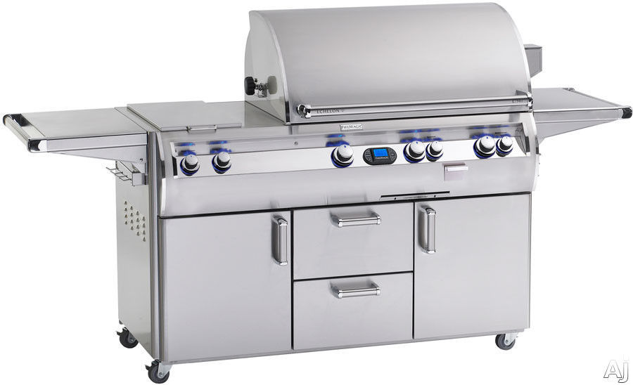 Fire Magic Echelon Collection E790S4E1N71 92 Inch Freestanding Gas Grill with 792 sq. in. Cooking Surface, 30,000 BTU Double Side Burner, Wood Chip Smoker, Digital Thermometer and Backlit Knobs: Natur