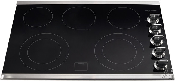 Frigidaire Gallery Series FGEC3067MS 30 Inch Electric Cooktop with 5 Heating Zones, 2 Expandable Elements, Keep Warm Zone, Ceramic Glass Construction, Express-Select Controls and Hot Surface Indicator