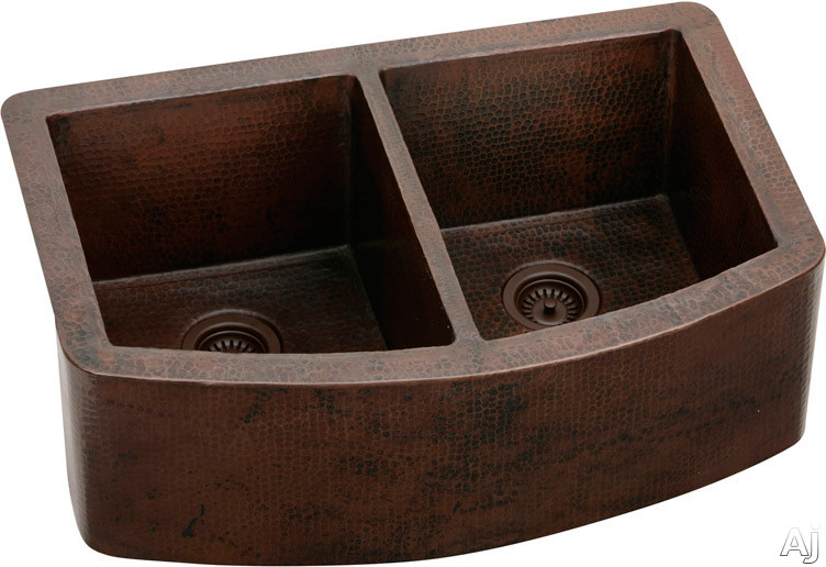 "Elkay Gourmet Collection ECUF3319ACH 33"" Apron Front Undermount Double Bowl Copper Sink with, U.S. & Canada ECUF3319ACH"