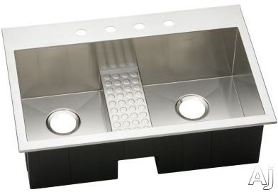 Elkay Avado Collection EFTLB332210CDBL5 33 Inch Drop-In Double Bowl Stainless Steel Sink with 10 Inch Bowl Depths, 16-Gauge, Sound Guard, Polished Satin Finish and Work Bench: 5 Faucet Holes