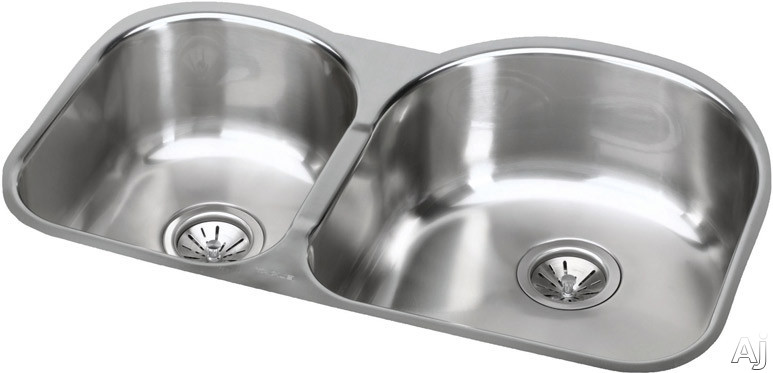 Elkay Elumina Collection EGUH311910L 31 Inch Undermount Double Bowl Stainless Steel Sink with 18-Gauge, 10 Inch Large Bowl Depth, 3-1/2 Inch Drain and Reveal: Small Bowl On Left