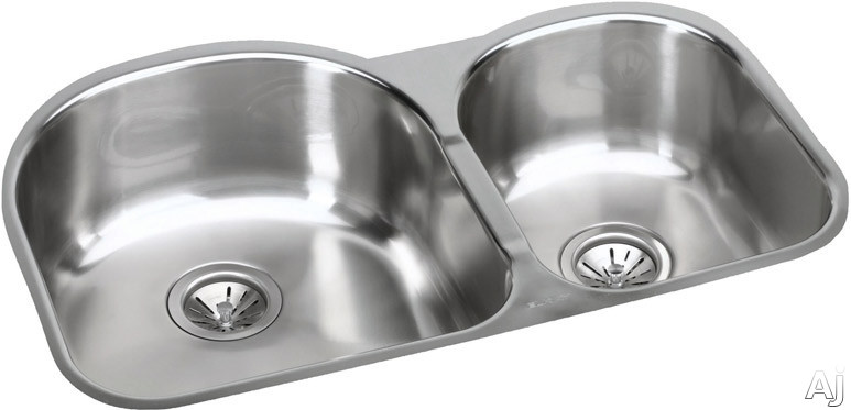 Elkay Elumina Collection EGUH311910R 31 Inch Undermount Double Bowl Stainless Steel Sink with 18-Gauge, 10 Inch Large Bowl Depth, 3-1/2 Inch Drain and Reveal: Small Bowl On Right