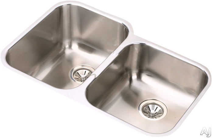 Elkay Elumina Collection EGUH312010R 31 Inch Undermount Double Bowl Stainless Steel Sink with 18-Gauge, 10 Inch Large Bowl Depth, 3-1/2 Inch Drain and Reveal: Small Bowl On Right