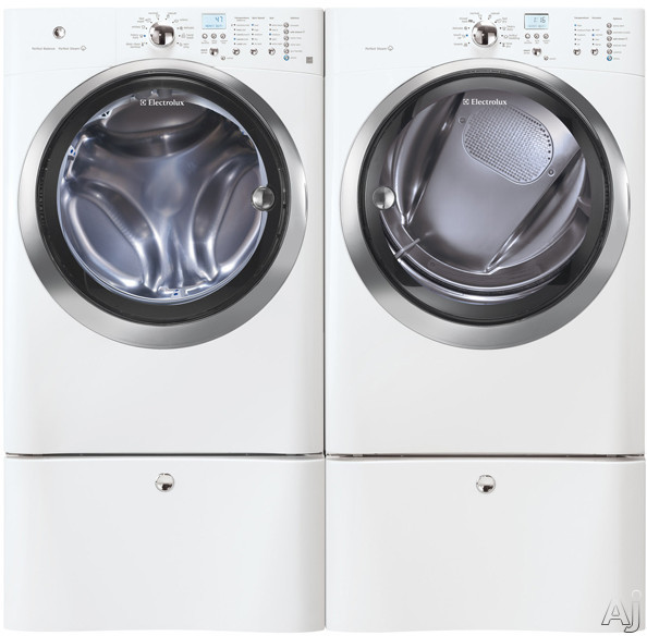 Washer and Dryer Side-By-Side With Optional Pedestals (Island White)