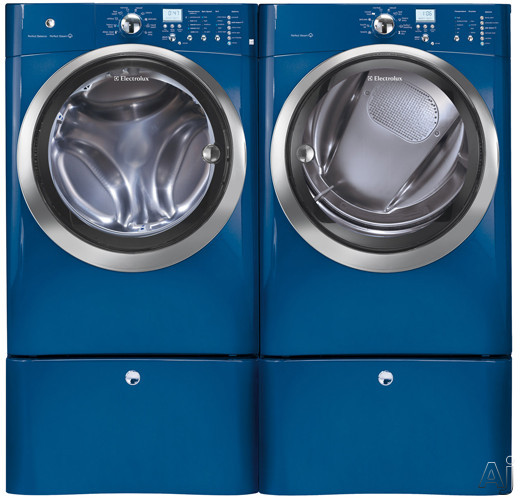 Washer and Dryer Side-By-Side With Optional Pedestals (Mediterranean Blue)