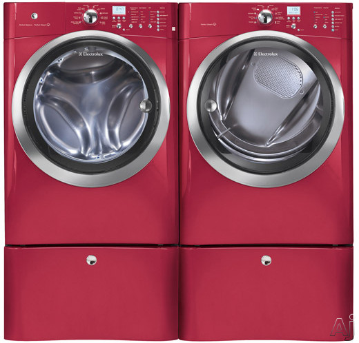 Washer and Dryer Side-By-Side With Optional Pedestals (Red Hot Red)