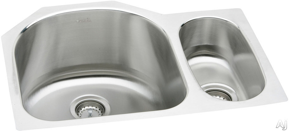 Elkay Lustertone Collection ELUH272010R 27 Inch Undermount Double Bowl Stainless Steel Sink with 18-Gauge, 10 Inch Large Bowl Depth and 3-1/2 Inch Drain