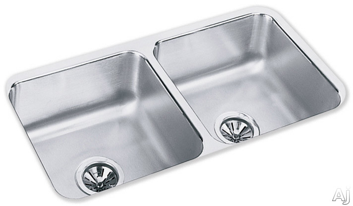 Elkay Lustertone Collection ELUH3116 32 Inch Undermount Double Bowl Stainless Steel Sink with 18-Gauge, 7-1/2 Inch Bowl Depth, 3-1/2 Inch Drain and Reveal