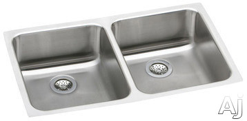 Elkay Lustertone Collection ELUH3118 31 Inch Undermount Double Bowl Stainless Steel Sink with 18-Gauge, 3-1/2 Inch Drain, Sound Guard Undercoating and Reveal: 7-7/8 in. Left/Right Bowl Depth