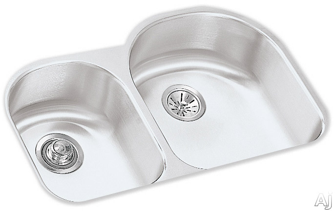 Elkay Lustertone Collection ELUH311910L 31 Inch Undermount Double Bowl Stainless Steel Sink with 18-Gauge, 10 Inch Large Bowl Depth and Reveal: Small Bowl On Left