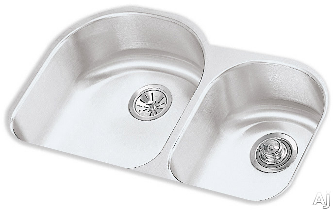 Elkay Lustertone Collection ELUH311910R 31 Inch Undermount Double Bowl Stainless Steel Sink with 18-Gauge, 10 Inch Large Bowl Depth and Reveal: Small Bowl On Right