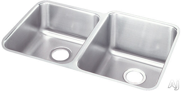 Elkay Lustertone Collection ELUH3120L 31 Inch Undermount Double Bowl Stainless Steel Sink with 18-Gauge, 9-7/8 Inch Large Bowl Depth, 7-7/8 Inch Small Bowl Depth and Reveal: Small Bowl On Left