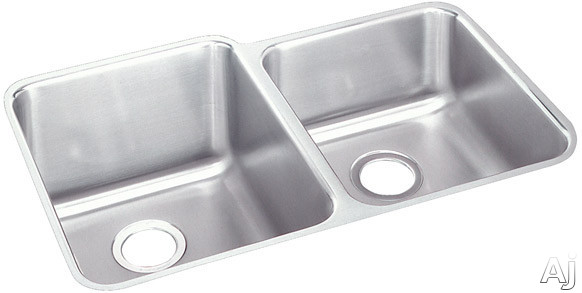 Elkay Lustertone Collection ELUH3120R 31 Inch Undermount Double Bowl Stainless Steel Sink with 18-Gauge, 9-7/8 Inch Large Bowl Depth, 7-7/8 Inch Small Bowl Depth and Reveal: Small Bowl On Right