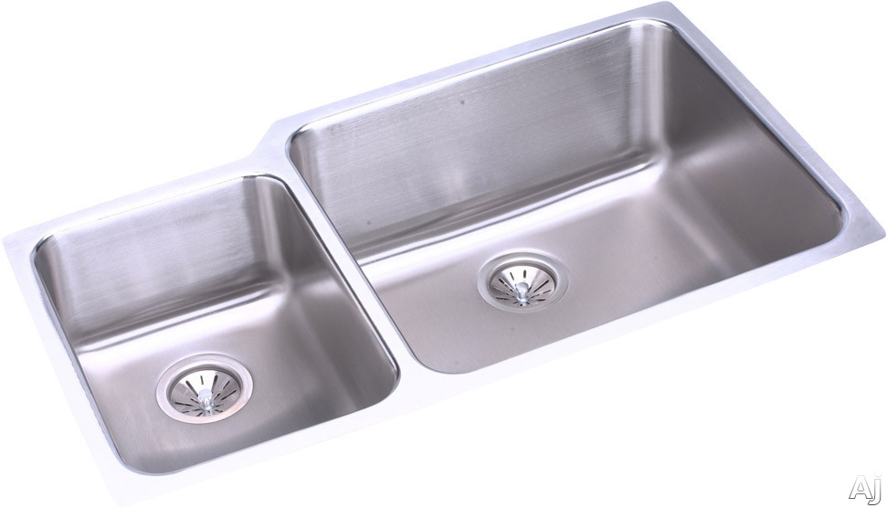 Elkay Lustertone Collection ELUH3520L 35 Inch Undermount Double Bowl Stainless Steel Sink with 18-Gauge, 9-7/8 Inch Large Bowl Depth, 7-7/8 Inch Small Bowl Depth and Sound Guard Undercoating: Small Bo