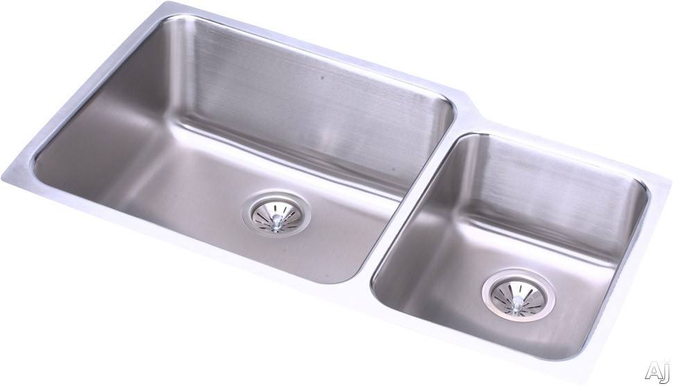 Elkay Lustertone Collection ELUH3520R 35 Inch Undermount Double Bowl Stainless Steel Sink with 18-Gauge, 9-7/8 Inch Large Bowl Depth, 7-7/8 Inch Small Bowl Depth and Sound Guard Undercoating: Small Bo
