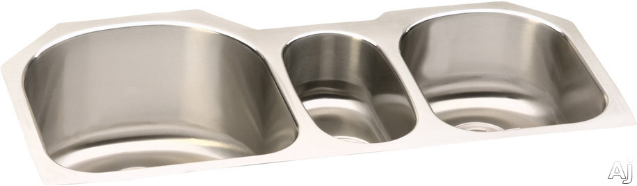 Elkay Lustertone Collection ELUH3920 40 Inch Undermount Triple Bowl Stainless Steel Sink with 18-Gauge, 10 Inch Large Bowl Depth, 5-9/16 Inch Small Bowl Depth and Sound Guard Undercoating