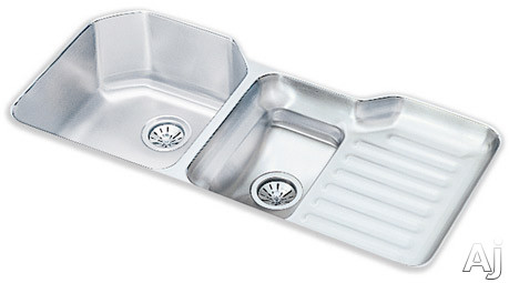 Elkay Lustertone Collection ELUH4221L 42 Inch Undermount Double Bowl Stainless Steel Sink with 18-Gauge, 10 Inch Large Bowl Depth, 4 Faucet Holes, Reveal, Ribbed Work Area and Cutting Board: Bowls Lef