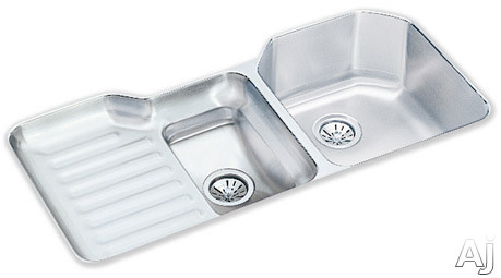 Elkay Lustertone Collection ELUH4221R 42 Inch Undermount Double Bowl Stainless Steel Sink with 18-Gauge, 10 Inch Large Bowl Depth, 4 Faucet Holes, Reveal, Ribbed Work Area and Cutting Board: Bowls Rig