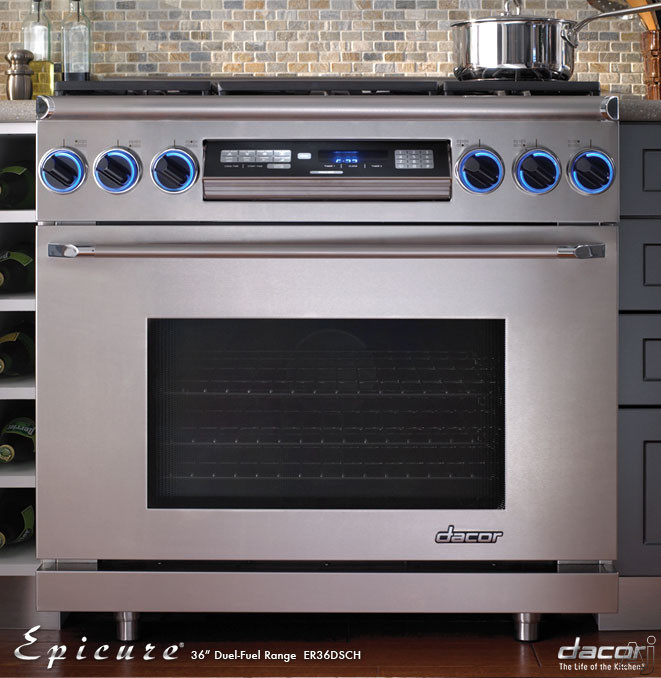 "Dacor Discovery ER36DSCHLP 36"" Freestanding Dual Fuel Range with 6 Sealed Gas Burners, 4.6 cu. ft. Self-Cleaning Pure Convection Oven, RapidHeat Bake/Broil Elements and Chrome Trim: Liquid Propane"