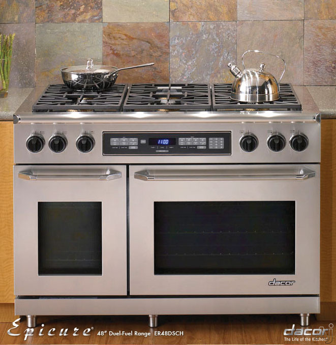 """Dacor Discovery ER48D 48"""" Freestanding Dual Fuel Range with 6 Sealed Gas Burners, 2.6 / 4.6 cu. ft., U.S. & Canada ER48D"""