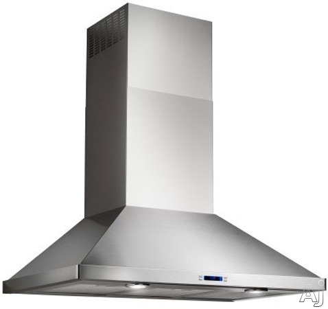 Elica Varna Series EVR636S1 36 Inch Wall Mount Chimney Hood with 600 CFM Internal Blower, 4-Speed Touch Controls, LCD Display, Halogen Lamps and Telescopic Chimney Extension: 36 Inch Width EVR636S1