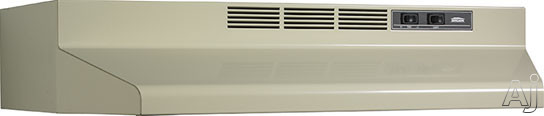 Broan F40000 Series F402408 24 Inch Under-cabinet Range Hood With 190 Cfm Internal Blower, 2-speed Rocker Control, Dishwasher-safe Aluminum Grease Filter And Convertible To Recirculating: Almond