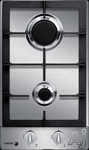 Fagor FA320SX 12 Inch Modular Gas Cooktop with 2 Sealed Burners, Continuous Cast Iron Grates, Flame Failure Safety, Universal Ignition and Metallic Knobs