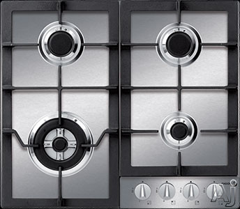 Fagor FA640STX 24 Inch Gas Cooktop with 4 Sealed Burners, 16,000 BTU/h Triple-Crown Burner, Continuous Cast Iron Grates, Flame Failure Safety and Metallic Knobs