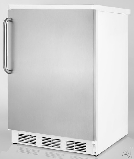 Summit FF67SSTB 5.5 cu. ft. Compact Refrigerator with Adjustable Glass Shelves, Door Storage, Fruit, U.S. & Canada FF67SSTB