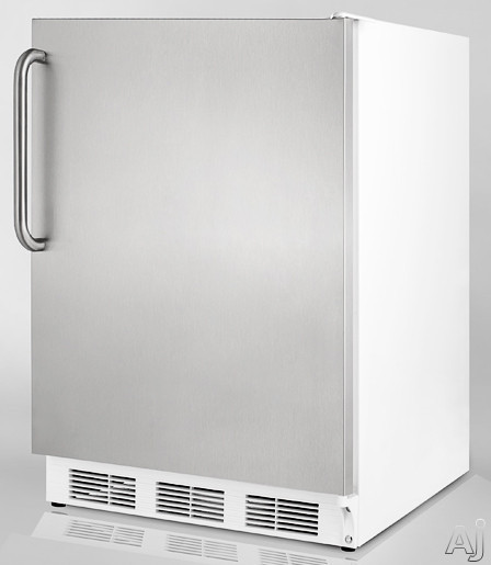 "Summit CT67BISSTB 24"" Built-in Compact Refrigerator with Adjustable Glass Shelves, Door Storage, U.S. & Canada CT67BISSTB"