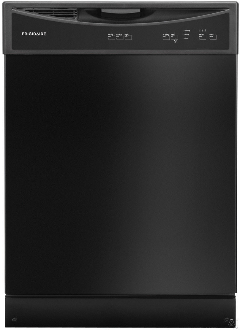 Frigidaire FFBD2406NB Full Console Dishwasher with Ready-Select®, SpaceWise® Silverware Basket, Control Lock, Hi-Temp Wash, Self-Cleaning Filter, 14 Place Setting Capacity, 60 dBA Silence Rating, Energy Saver Dry, Dual Spray Arm, Polymer Tub and ENERGY