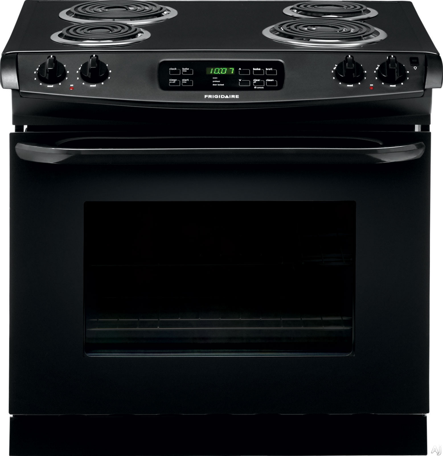 Frigidaire FFED3015PB 30 Inch Drop-in Electric Range with 4 Coil Elements, 4.6 cu. ft. Self-Clean Oven, Delay Clean, Delay Start, Hi/Lo Broil Option and Auto Oven Shut-Off: Black