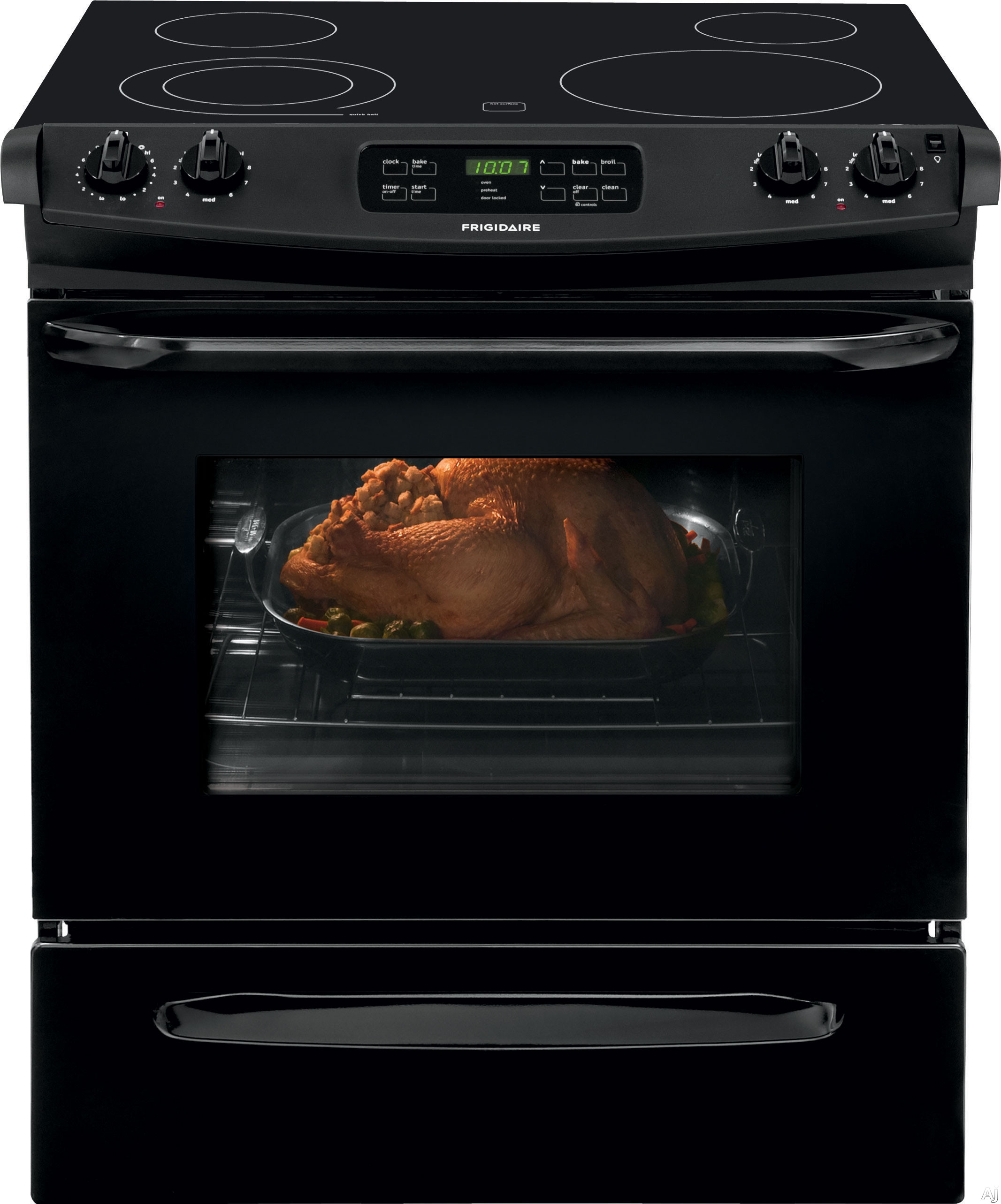 Frigidaire FFES3025PB 30 Inch Slide-In Electric Range with SpaceWise® Expandable Elements, Store-More™ Storage Drawer, Even Baking Technology, Self-Clean, Extra Large Element, ADA Compliant a