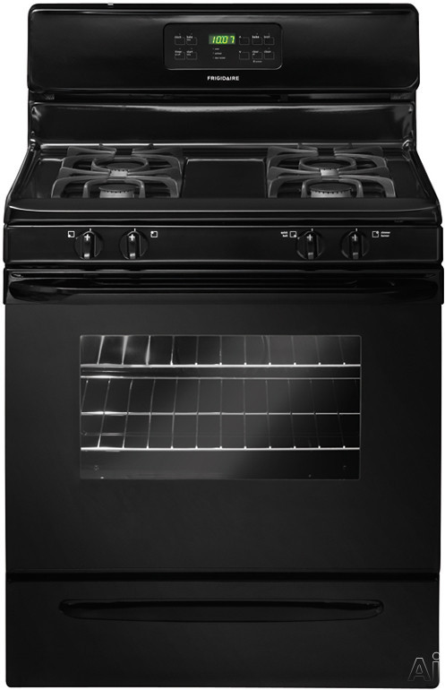 Frigidaire FFGF3023LB 30 Inch Freestanding Gas Range with Quick Boil Burner, Low-Simmer Burner, Self-Clean, 4 Sealed Burners, 5.0 cu. ft. Oven, Ready-Select Controls and Storage Drawer: Black