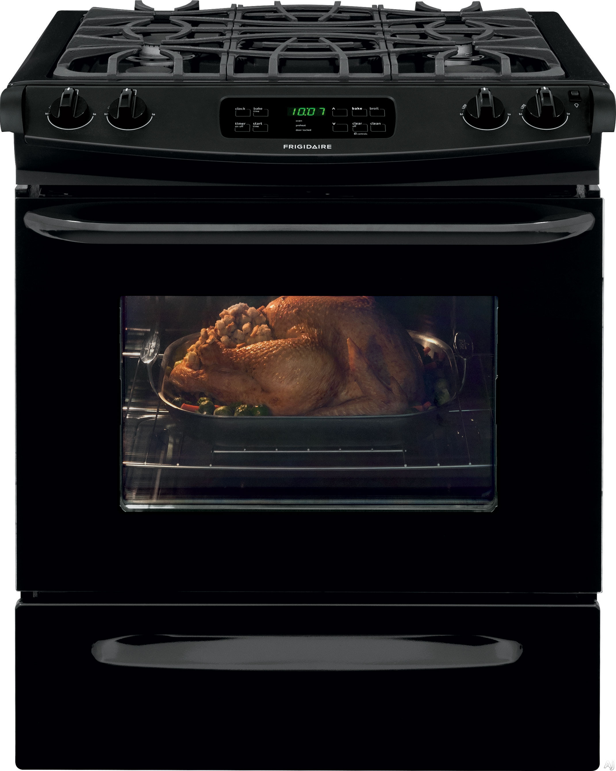 Frigidaire FFGS3025PB 30 Inch Slide-in Gas Range with Multiple Broil Options, Power Clean, Storage Drawer, Quick Clean, Delay Clean, Auto Oven Shut-Off, 4.5 cu. ft. Capacity, 4 Sealed Burners, Ready-S